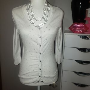 WHBM white bling button cardigan sweater size XS